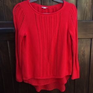 Lucky Brand Swiss Dot Lined Red Knit Sweater